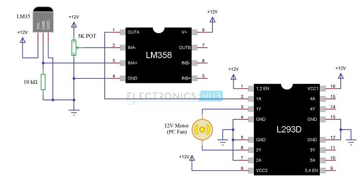 Temperatura controlada Diagrama del circuito del sistema