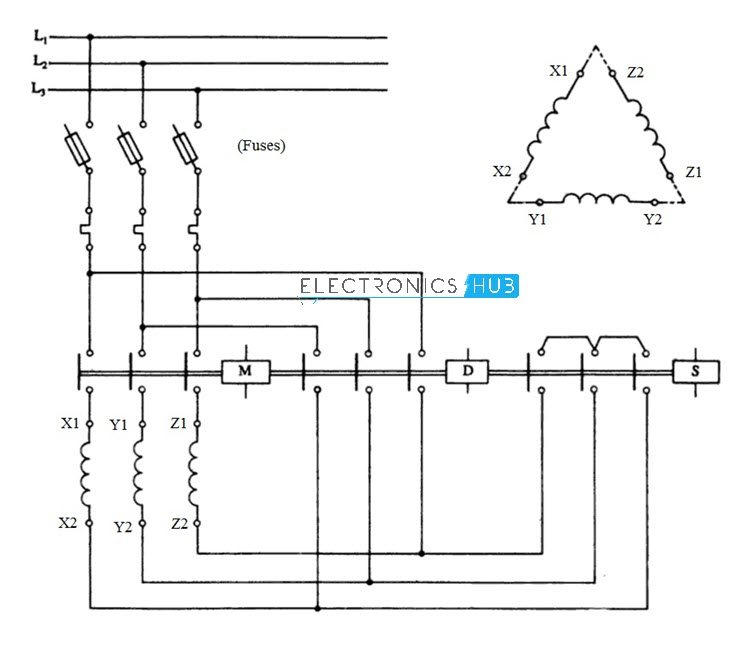 Star delta starter for phase motor
