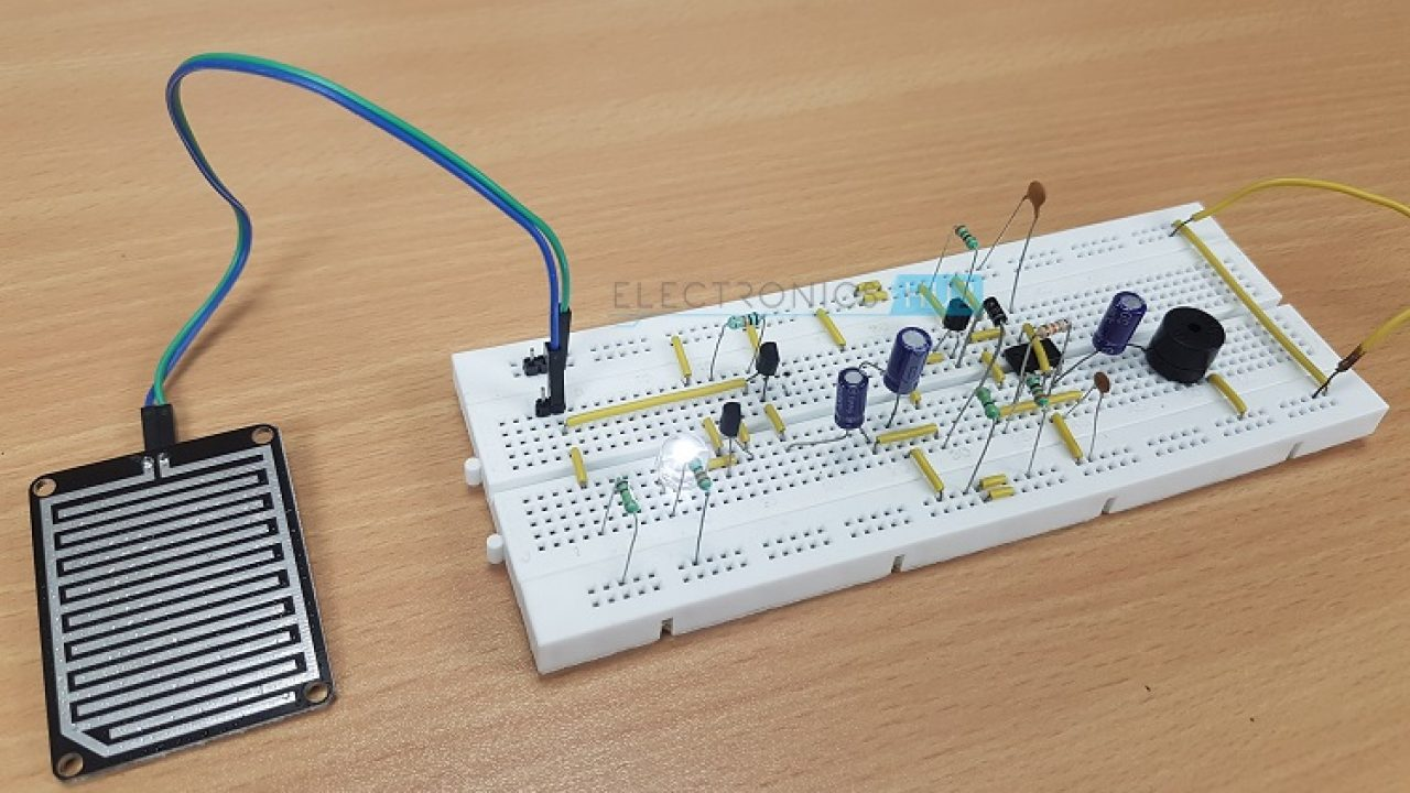 Rain Alarm Project | Rain Water Detector Circuit Applications on