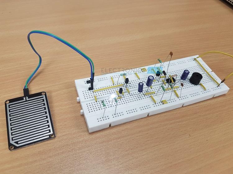 rain alarm project rain water detector circuit applications rh electronicshub org