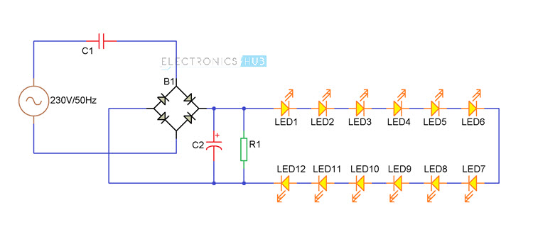 diy led light bulb led lamp rh electronicshub org led lamp circuit diagram 6v led bulbs circuit diagram