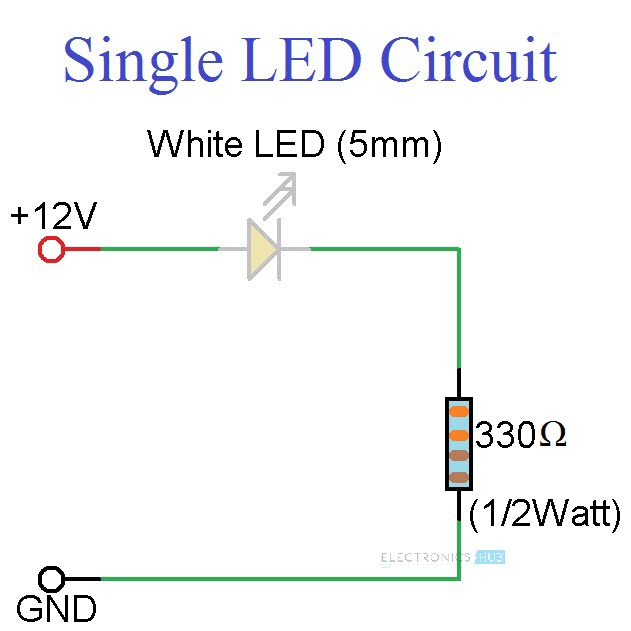 12v led wiring diagram for rgb 12v led circuit diagram simple led circuits: single led, series leds and parallel leds #6