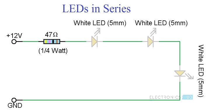 simple led circuits single led series leds and parallel leds rh electronicshub org 12v led driver circuit diagram 12v led circuit diagram