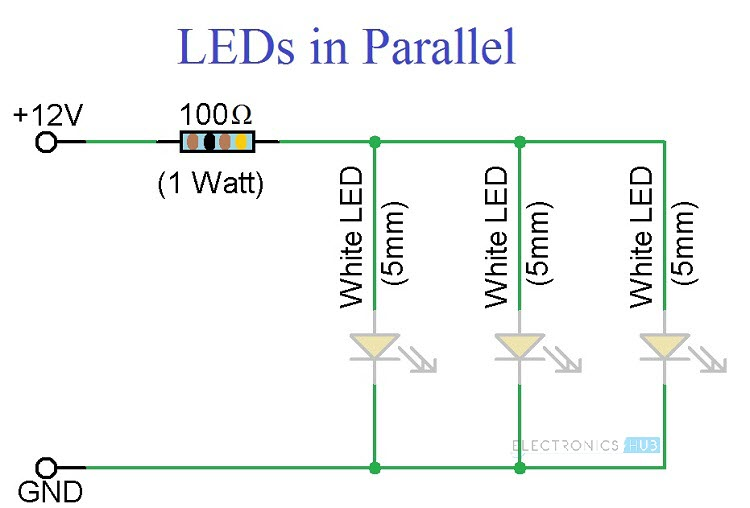 simple led circuits single led series leds and parallel leds rh electronicshub org flashing led circuits diagrams led light circuits diagrams