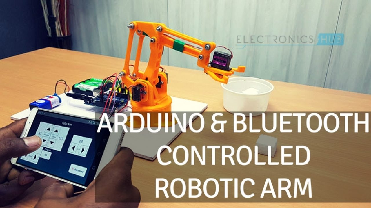 DIY Arduino & Bluetooth Controlled Robotic Arm Project with Circuit