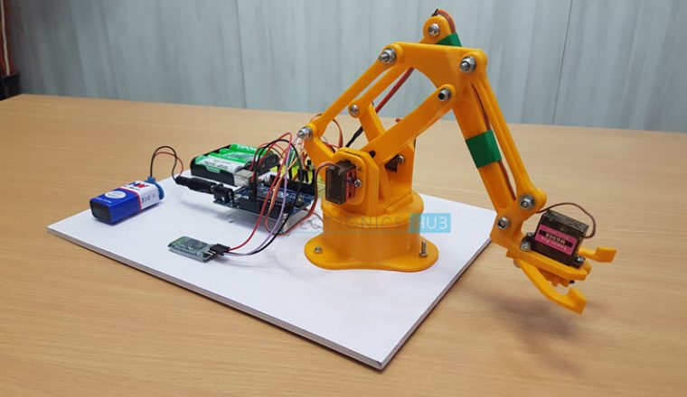 Diy arduino bluetooth controlled robotic arm project