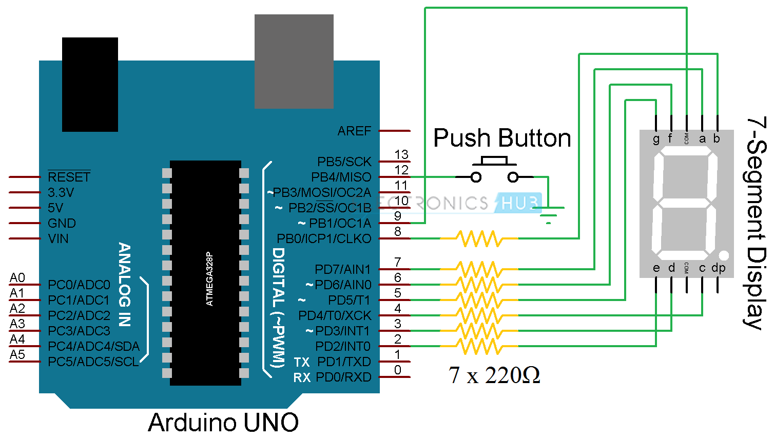 arduino 7 segment display interface circuit, rolling dice