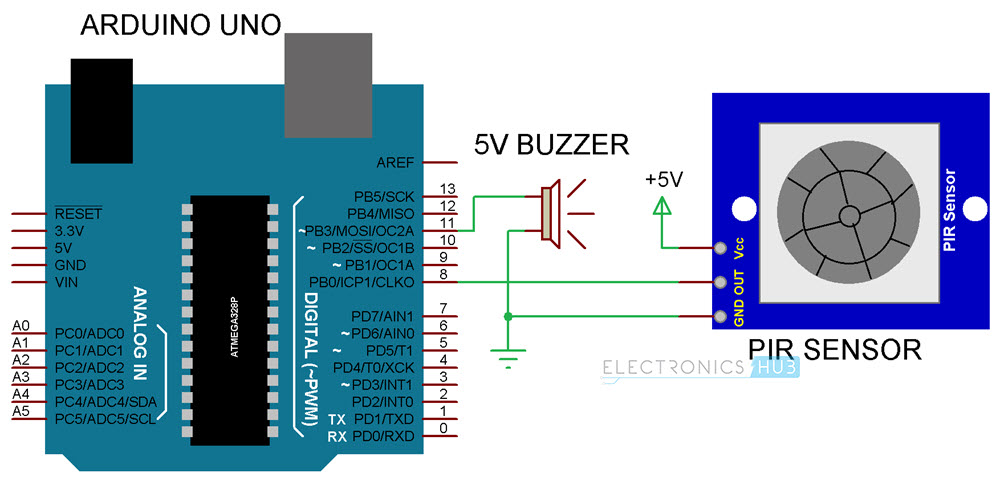 Arduino PIR Sensor Tutorial Circuit Diagram
