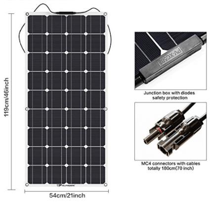 ALLPOWERS 100W 18V 12V Solar Panel Kit Charger