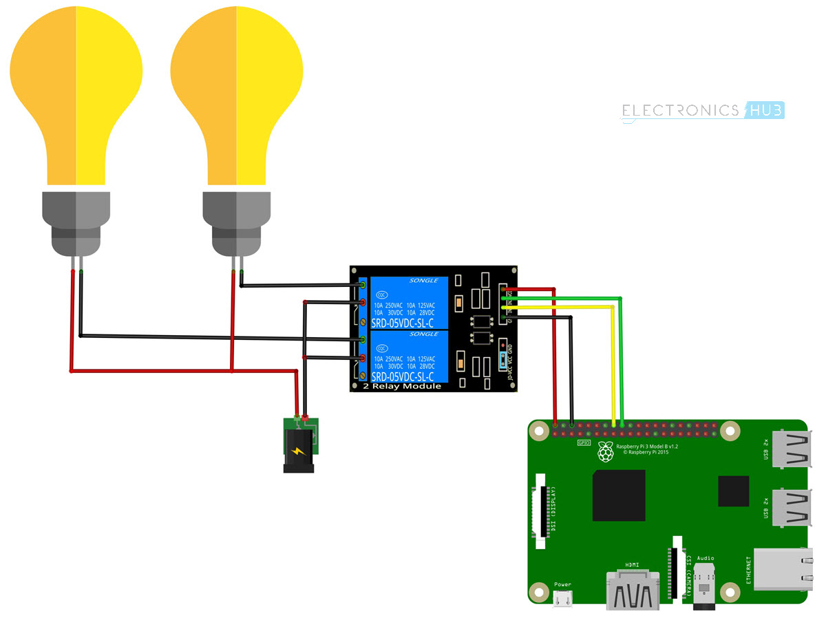How To Control A Relay Using Raspberry Pi Electronics Hub The Following Schematic Shows Wiring Circuit Diagram For