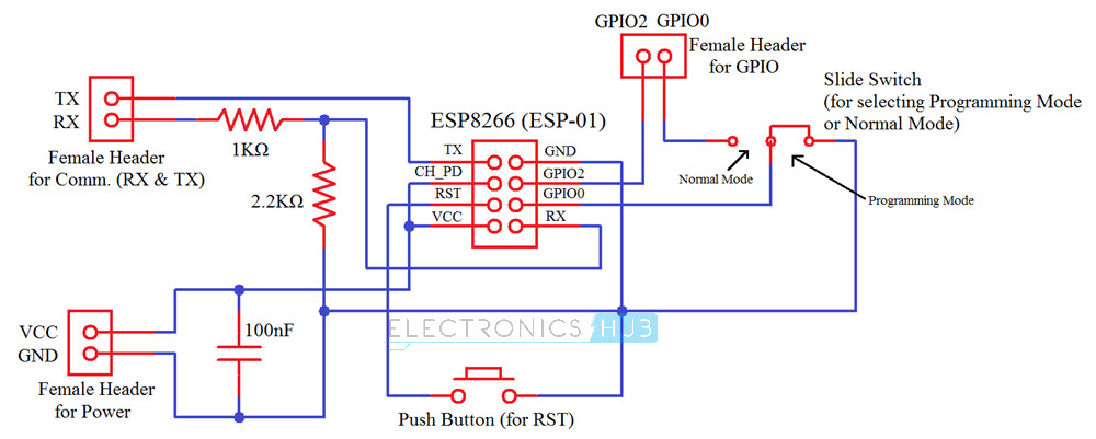 DIY PCB for ESP8266 WiFi Module Circuit Diagram