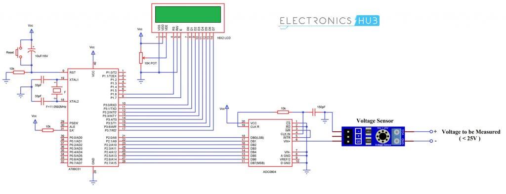 Digital Voltmeter using 8051 Microcontroller and Voltage Sensor Circuit Diagram