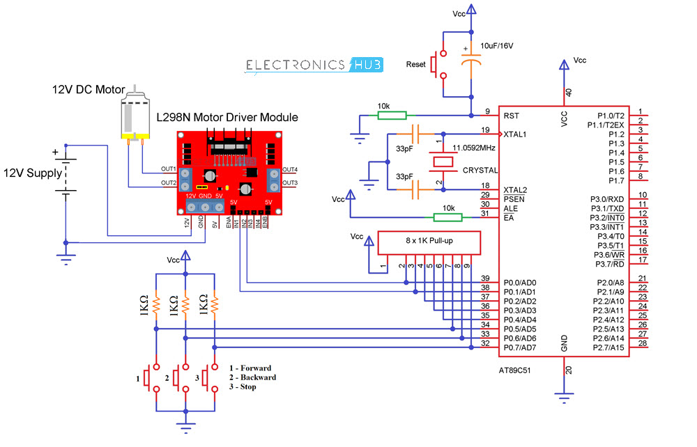 interfacing dc motor with 8051 microcontroller using l293dcircuit diagram for interfacing dc motor with 8051 microcontroller and l298n