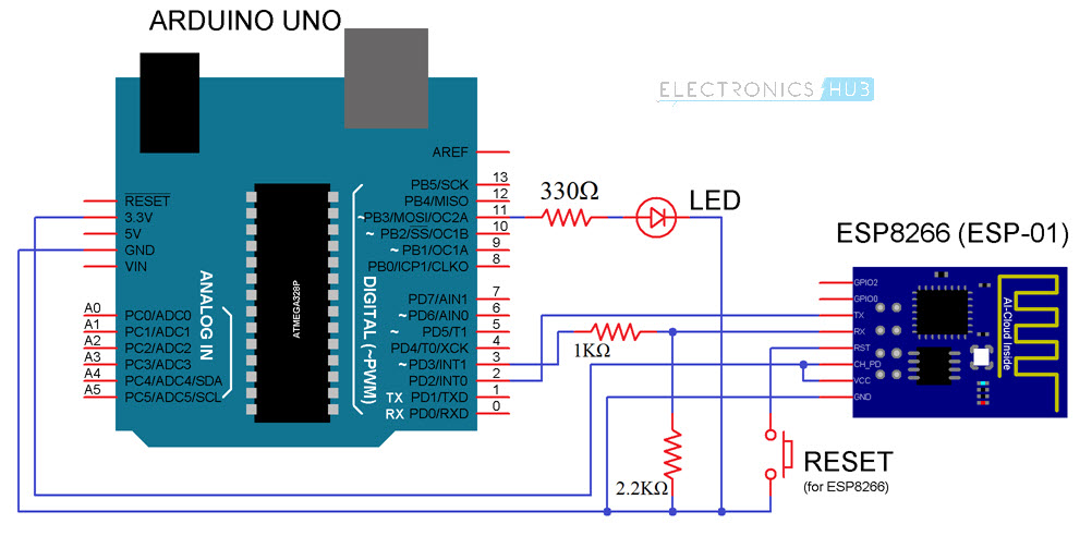 WiFi Controlled LED using ESP8266 and Arduino Circuit Diagram
