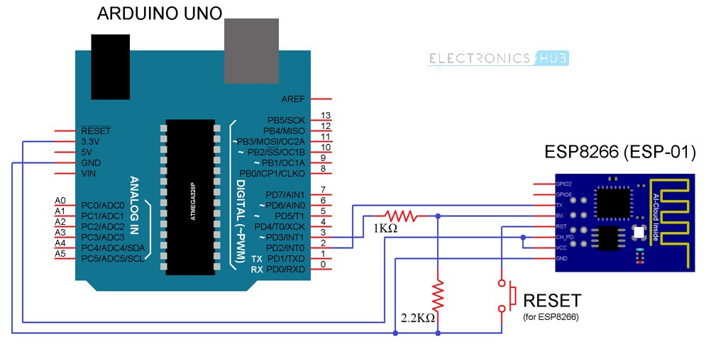 Connect ESP8266 to ThingSpeak Arduino Circuit