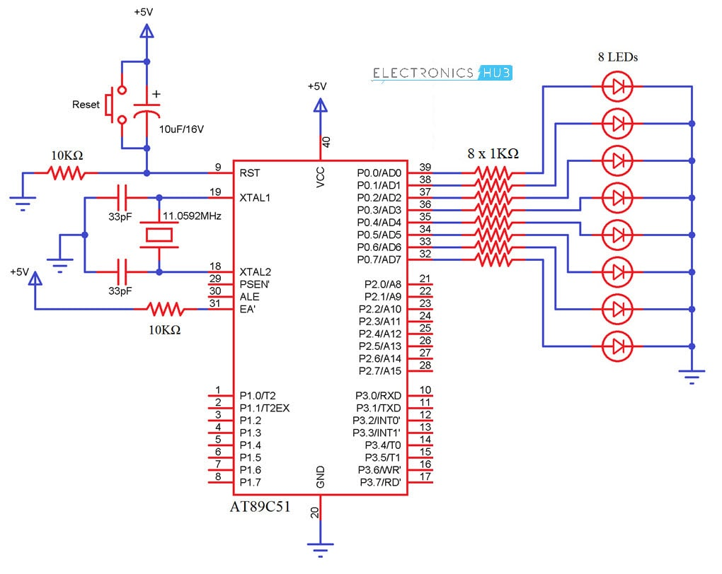 Interfacing Led With 8051 Microcontroller Circuit Electronicshub On Automatic Emergency Light Control Diagram