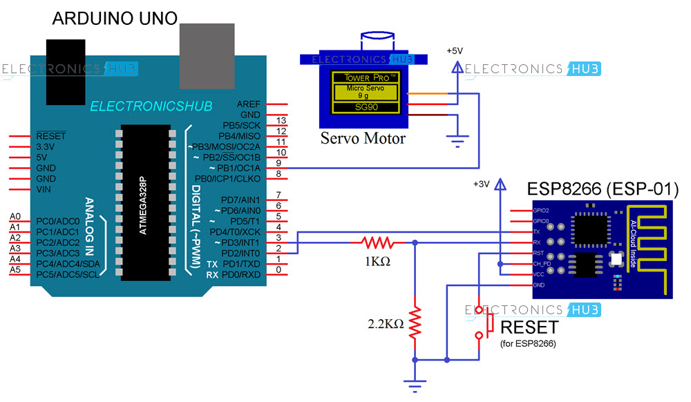 Web Controlled Servo using ESP8266 Circuit Diagram