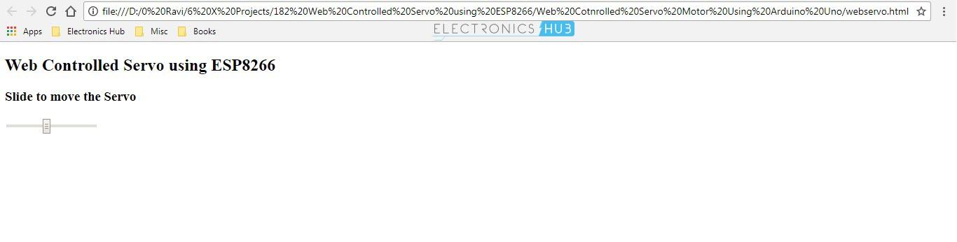 Web Controlled Servo using ESP8266 Web Page