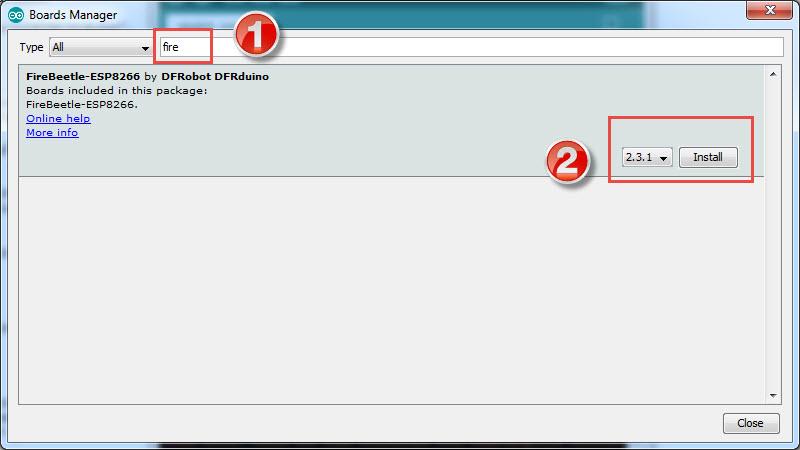 DFRobot FireBeetle ESP8266 Review FireBeetle Arduino Board Install