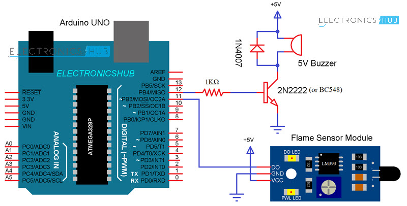 arduino flame sensor interface working circuit diagram code rh electronicshub org