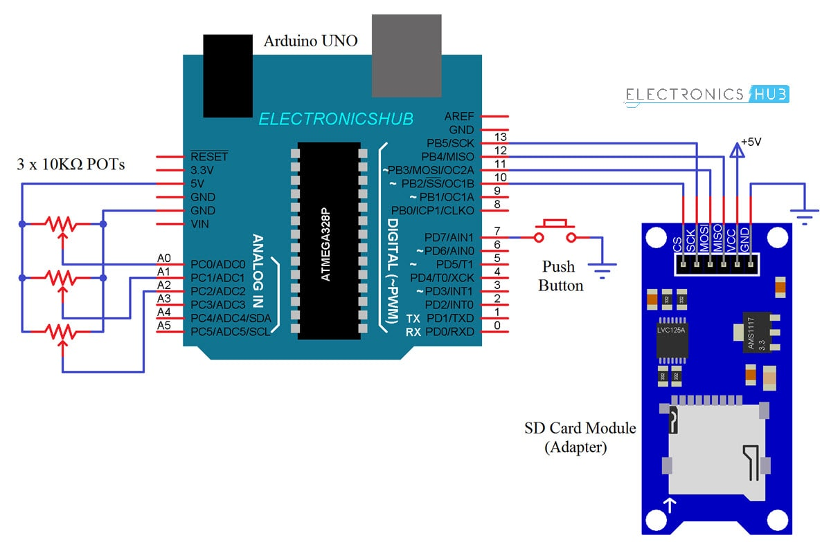Arduino Sd Card Module Interface Hook Up Guide And Data Logging Wiring Diagram Circuit