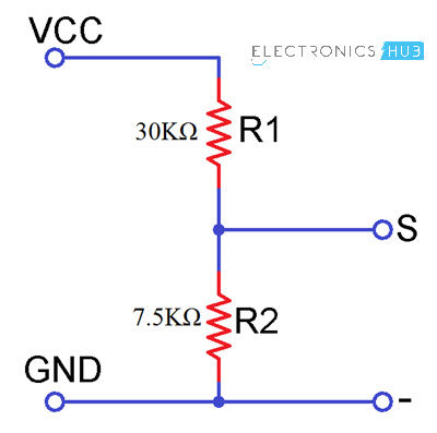 Interfacing Voltage Sensor with Arduino Voltage Sensor Schematic
