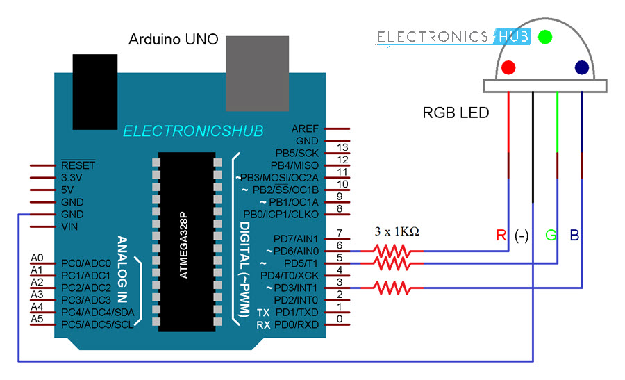 RGB LED with Arduino Circuit Diagram