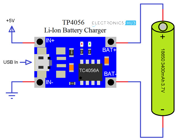 Tp4056 Lithium Ion Battery Charger Circuit 18650 Battery Charging