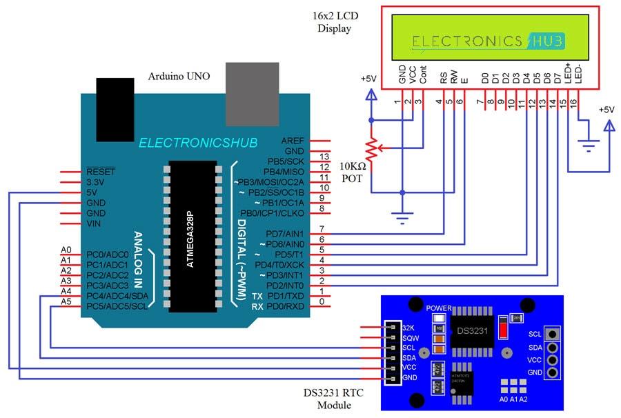 Arduino DS3231 RTC Module Tutorial Circuit Diagram