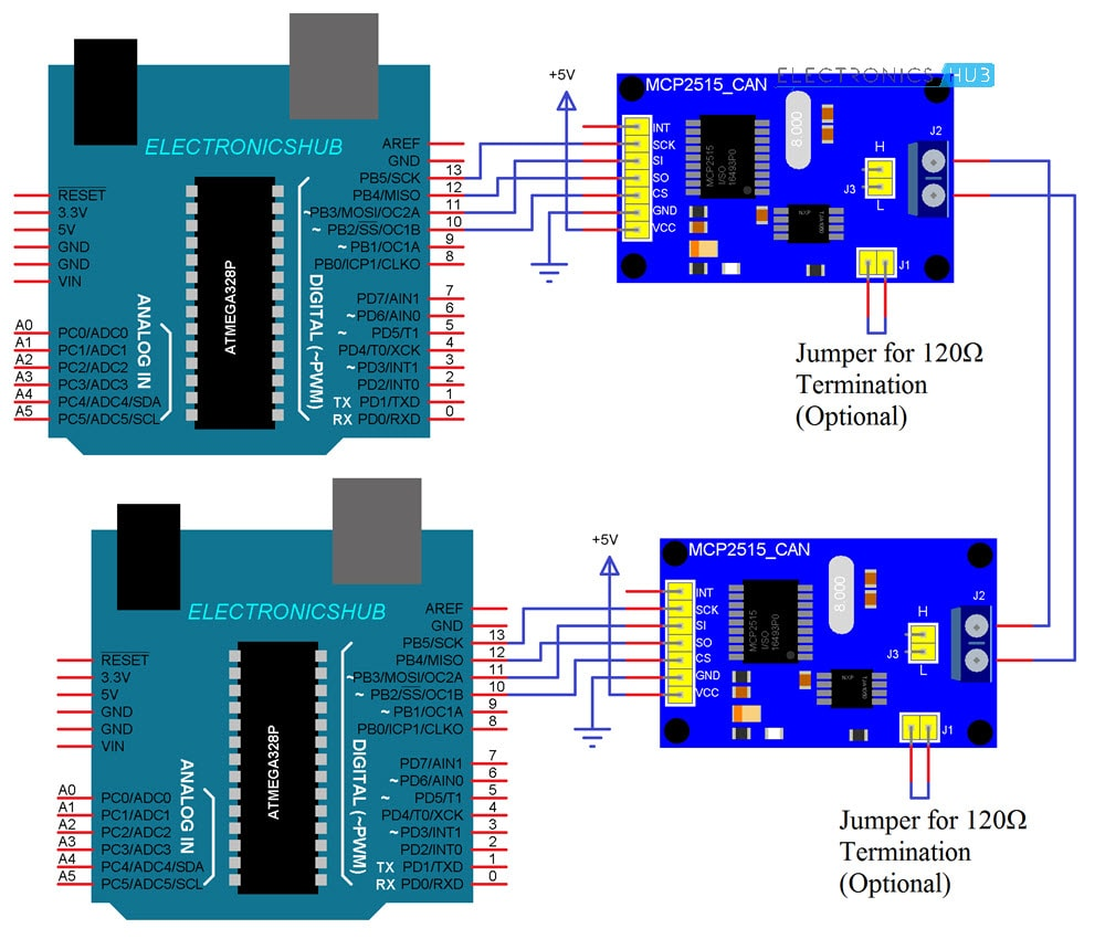 Arduino MCP2515 CAN Bus Interface Circuit Diagram