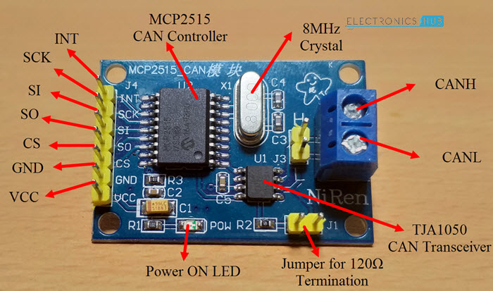 Arduino MCP2515 CAN Bus Interface MCP2515 CAN Module Components