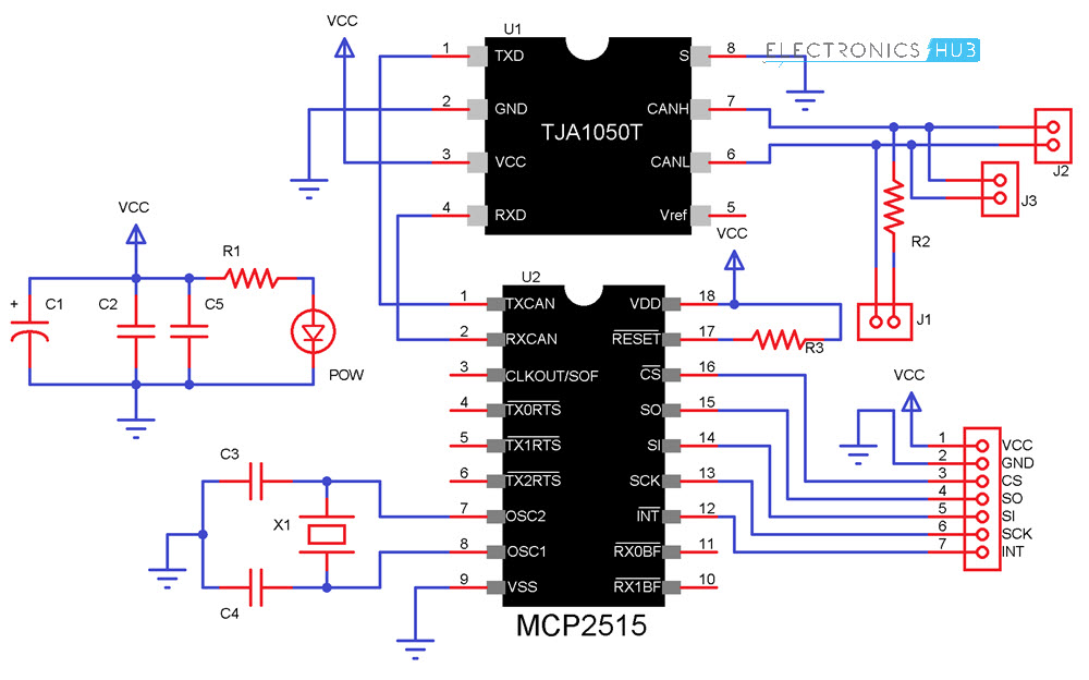 Arduino MCP2515 CAN Bus Interface MCP2515 Schematic