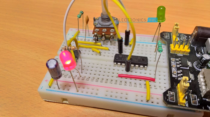 Frequency Divider Circuit using 555 and 4017 Circuit Design