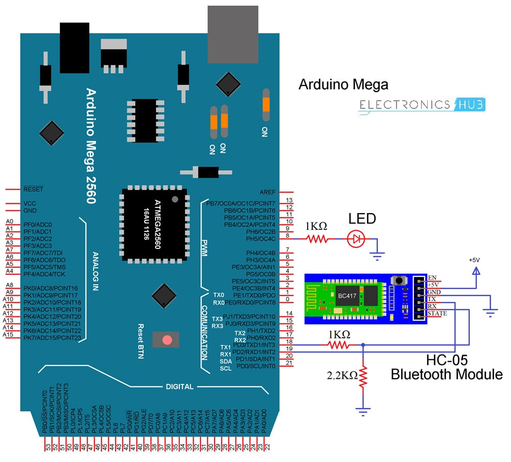 HC-05 Bluetooth Module with Arduino Circuit Diagram