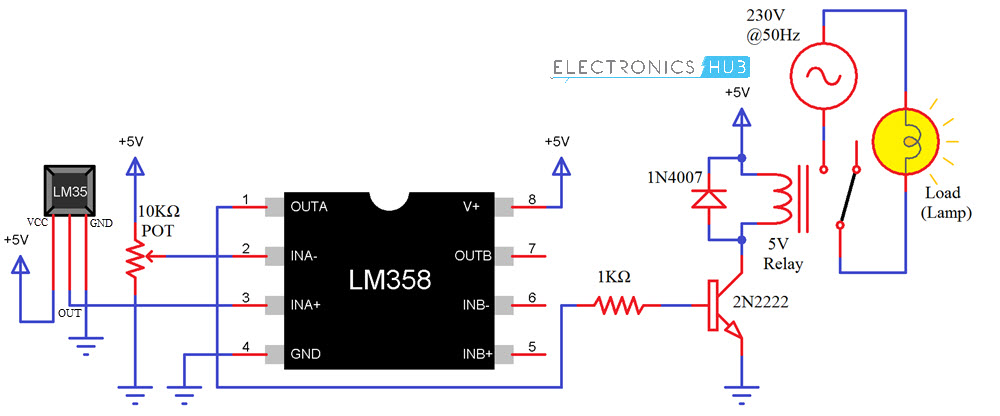 temperature controlled switch using lm35, lm358 using lm35, lm358temperature controlled switch using lm35 circuit diagram relay