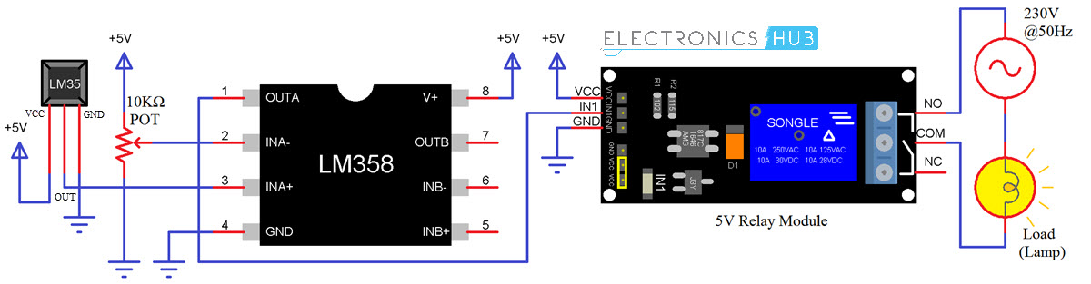 Temperature Controlled Switch using LM35 Circuit Diagram