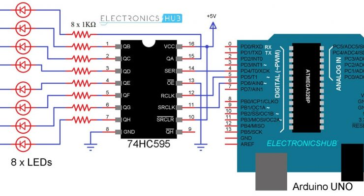 How to use 74HC595 Shift Register with Arduino?