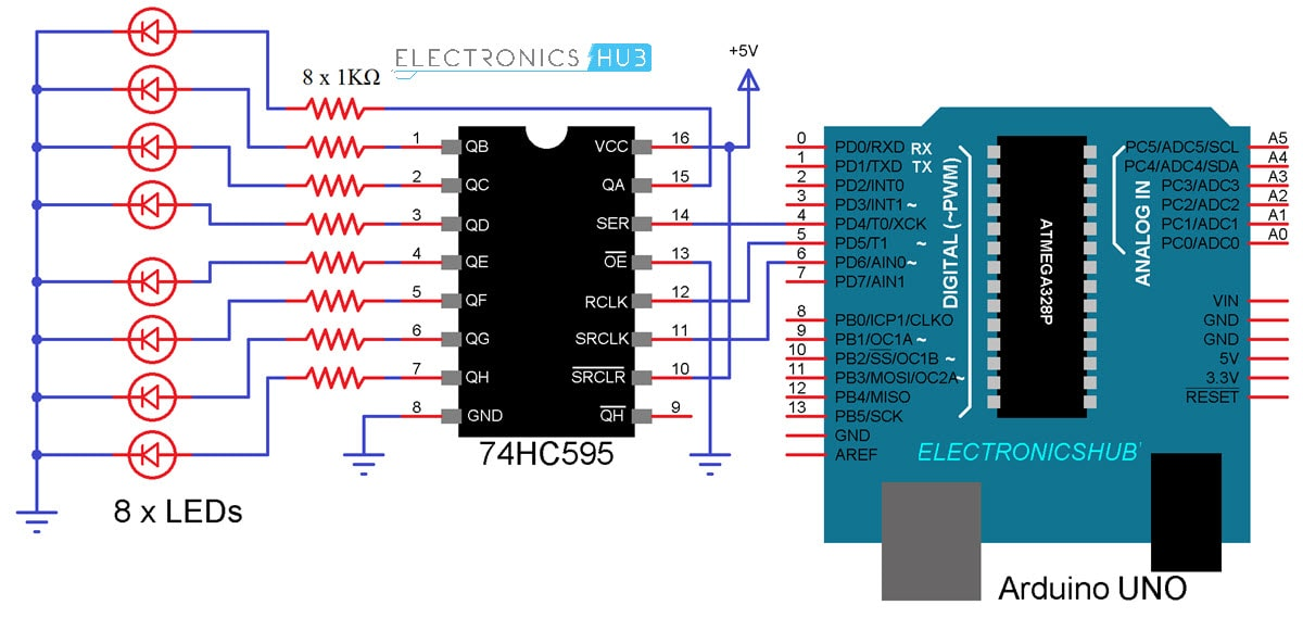 How To Interface 74hc595 Shift Register With Arduino