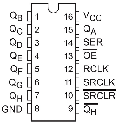 74HC595 Shift Register with Arduino Pin Diagram