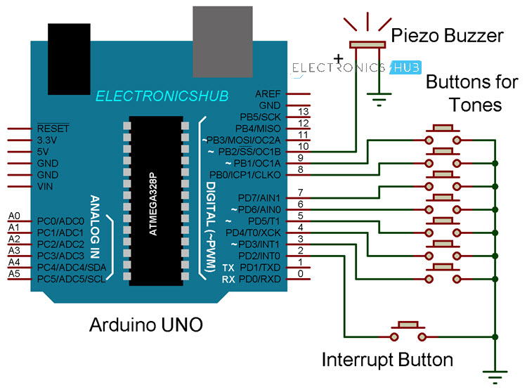 Arduino based Piano Circuit Diagram