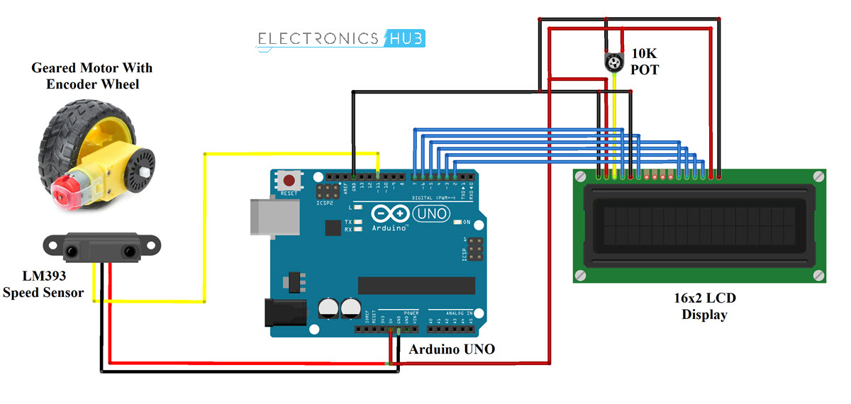 Interfacing LM393 Speed Sensor with Arduino Circuit Diagram