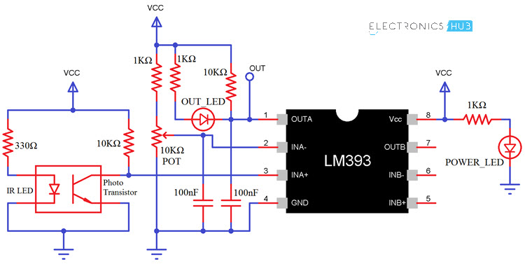 Interfacing LM393 Speed Sensor with Arduino LM393 Sensor Schematic