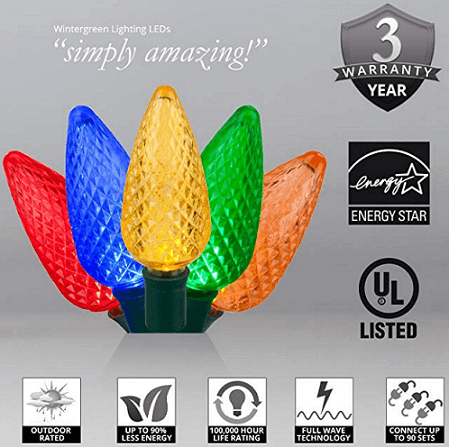 25 Multicolor Faceted C9 LED Indoor