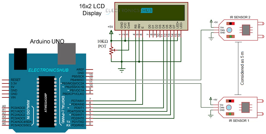 Arduino Car Speed Detector Circuit Diagram