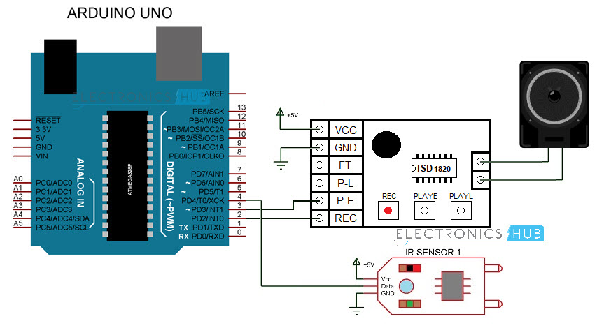 Interfacing ISD1820 Voice Recorder Module with Arduino Circuit Diagram