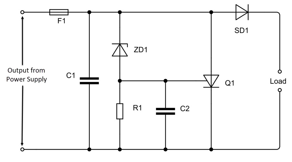 Crowbar Circuit utilisant thyristor SCR