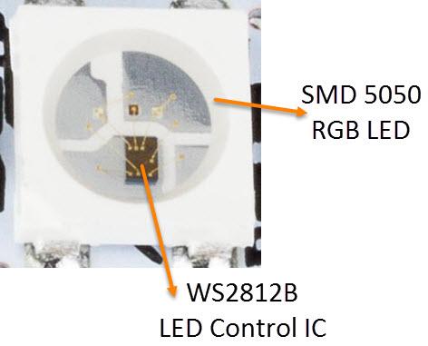 Schéma de circuit des voyants adressables WS2812B