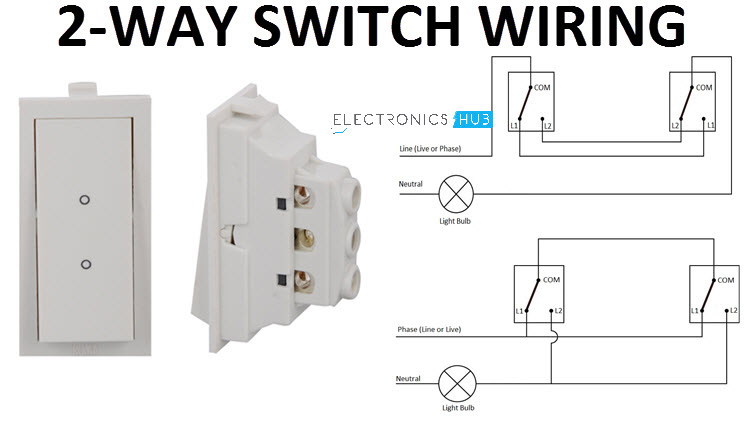 How a 2 Way Switch Wiring Works? | Two-Wire and Three-Wire Control | Wiring Two Switches One Light Diagram |  | Electronics Hub