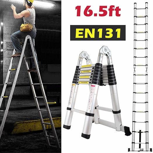 Bowoshen16.5ft Aluminum Telescoping Extension Ladder