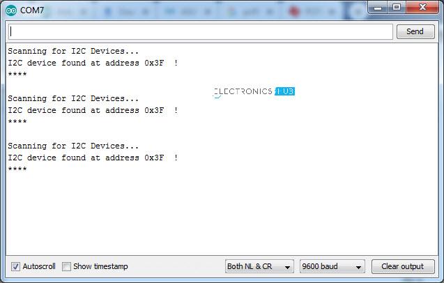 Adresse de numérisation LCD I2C